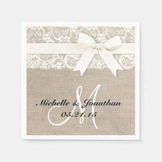Lace and Burlap Rustic Wedding Napkin White Disposable Napkins