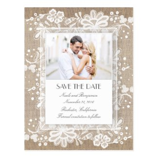 Lace and Burlap Vintage Photo Save the Date Postcard