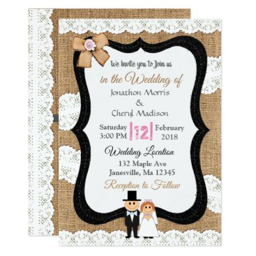 Wedding Themed Lace and Burlap Wedding Invitation