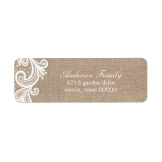 Lace and Burlap Wedding Label