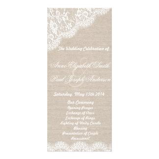 Lace and burlap wedding program rack card design