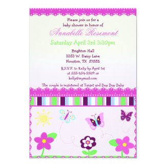 Lace and Butterflies Baby Shower Invitation