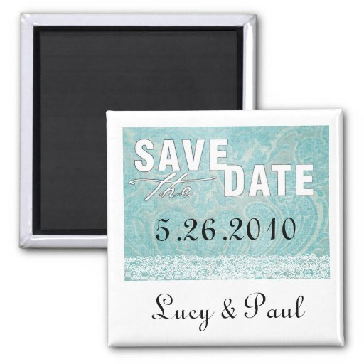 Lace and Damask Save the Date Magnet