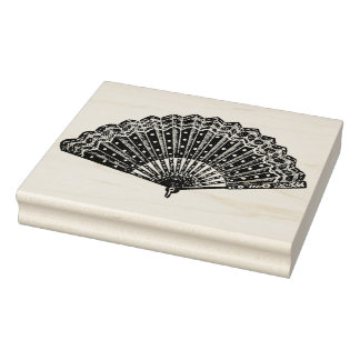 Lace and Dots Vintage Ladies Fan Rubber Art Stamp