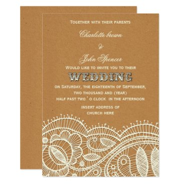 Lace and Kraft Paper Wedding Card