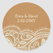 Lace and Kraft Paper Wedding Classic Round Sticker