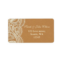 Lace and Kraft Paper Wedding Label