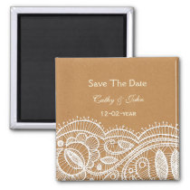 Lace and Kraft Paper Wedding Magnet