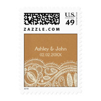 Lace and Kraft Paper Wedding Postage