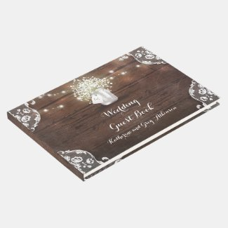 Lace and Mason Jar Rustic Country Wedding Guest Book