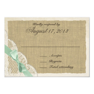 "Lace and Mint Green Bow Country Response Card 3.5"" X 5"" Invitation Card"