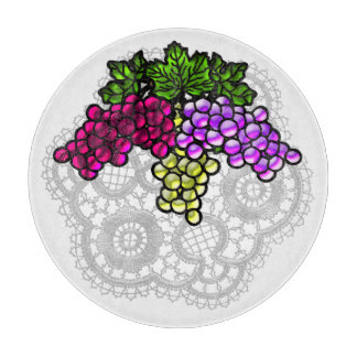Lace and Mouth-Watering Grapes Cutting Board