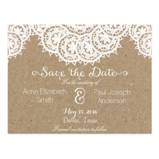 Lace and paper Save the Date Postcard