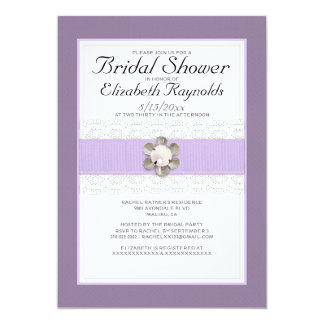 "Lace and Pearl Bridal Shower Invitations 5"" X 7"" Invitation Card"