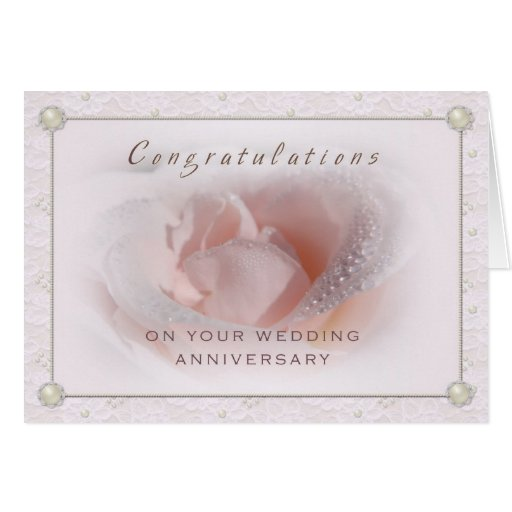 Lace and Pearl Wedding Anniversary Card