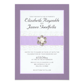 "Lace and Pearl Wedding Invitations 5"" X 7"" Invitation Card"