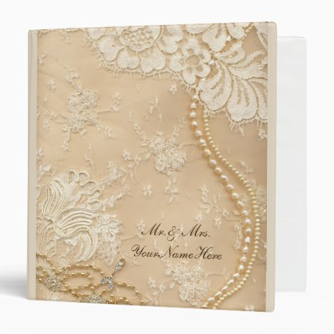 Lace and Pearl Wedding Photo Album Binder