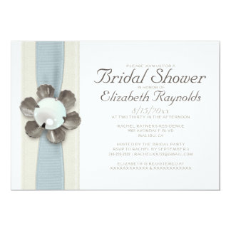 "Lace and Pearls Bridal Shower Invitations 5"" X 7"" Invitation Card"
