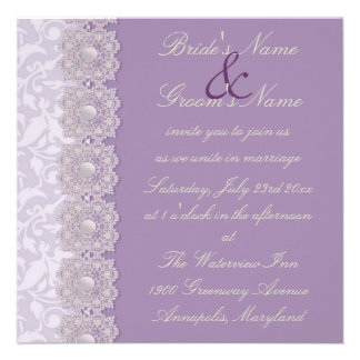 Lace and Pearls Lavender Wedding Invitation