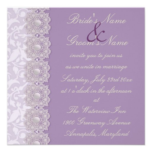 Lace and pearls lavender wedding invitation square for Pearl wedding invitations