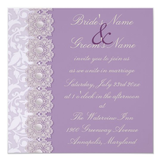 Pearl And Lace Wedding Invitations: Lace And Pearls Lavender Wedding Invitation