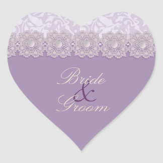 Lace and Pearls Lavender Wedding Stickers