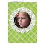 Lace and Plaid -butterfly on green- Stationery Note Card