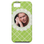 Lace and Plaid -butterfly on green- iPhone 5 Covers