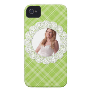 Lace and Plaid -butterfly on green- Case-Mate iPhone 4 Case