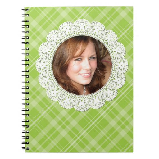 Lace and Plaid -butterfly on green- Note Books