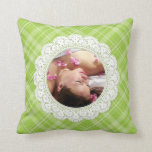 Lace and Plaid -butterfly on green- Throw Pillows
