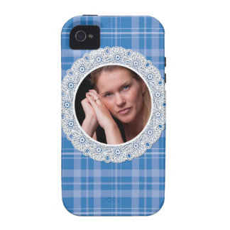Lace and Plaid -flower on dark blue- Case-Mate iPhone 4 Cases
