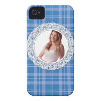 Lace and Plaid -flower on dark blue- iPhone 4 Case