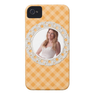 Lace and Plaid - flower on orange- iPhone 4 Case-Mate Case