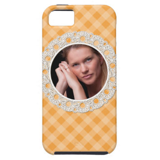 Lace and Plaid - flower on orange- iPhone SE/5/5s Case