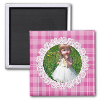 Lace and Plaid -Heart on Pink- 2 Inch Square Magnet