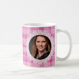 Lace and Plaid -Heart on Pink- Coffee Mug