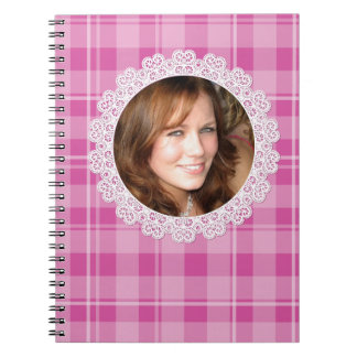 Lace and Plaid -Heart on Pink- Spiral Notebook