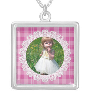 Lace and Plaid -Heart on Pink- Silver Plated Necklace