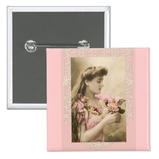 lace and posies victorian lady pinback button