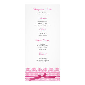 Lace and Ribbon reception menus Full Color Rack Card