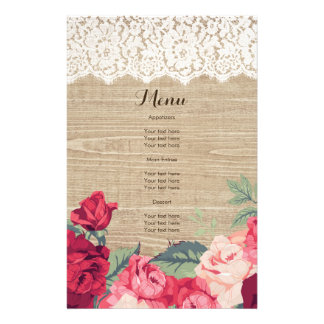 Lace and Roses on Faux Wood Flyer