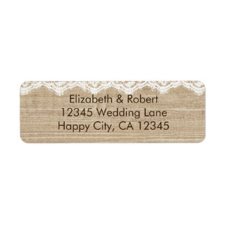 Lace and Roses on Faux Wood Label