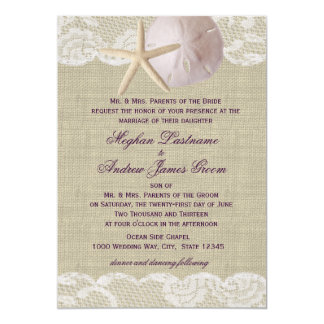 Lace and Sand Dollar Beach Wedding Card