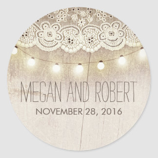 Lace and String Lights Rustic Wedding Classic Round Sticker