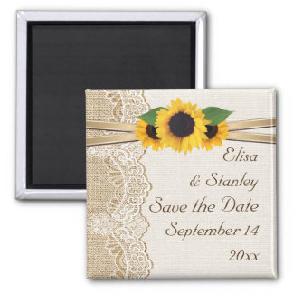 Lace and sunflowers burlap wedding Save the Date Magnet