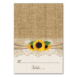 Lace and sunflowers on burlap wedding place card table card