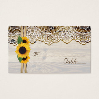 Lace and sunflowers on wood wedding place card