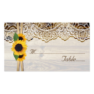 Lace and sunflowers on wood wedding place card business card