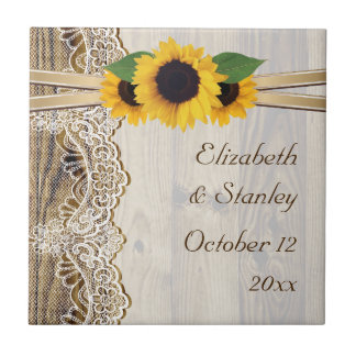 Lace and sunflowers on wood wedding small square tile